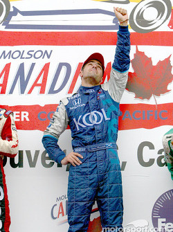 Dario Franchitti saluting his fallen best friend, the late Greg Moore