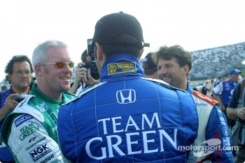 Paul Tracy, Dario Franchitti and Michael Andretti