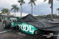 Paul Tracy's Team KOOL Green car under dark sky