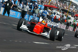 Oriol Servia heads to the track