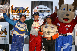 The podium: race winner Michel Jourdain Jr., Oriol Servia and Patrick Carpentier