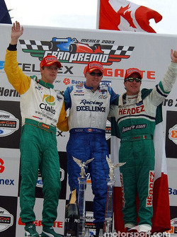Podium: race winner Paul Tracy with Sébastien Bourdais and Mario Dominguez