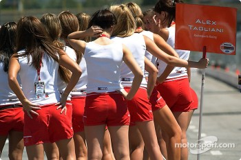 The Molson Indy girls get trained on Sunday's grid duties