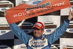 Patrick Carpentier celebrates the pole