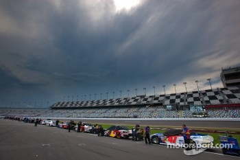 A cloud formation moves in over Daytona International Speedway at the start of qualifying