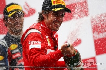 Ferrari back where they belong, Alonso celebrating his second place