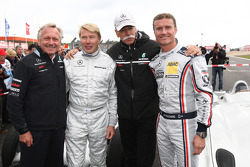 Mika Hakkinen drives the Mercedes GP drives the 1955 Mercedes W196 and David Coulthard, Red Bull Racing, Consultant drives the Mercedes 1955, Dr. Dieter Zetsche, Chairman of Daimler