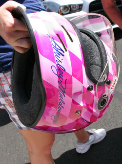 Shirley Muldowney's traditional pink helmet