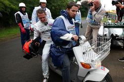 Michael Schumacher, Mercedes GP F1 Team, stops on track
