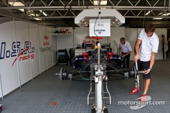 Daniel Ricciardo's car being prepared in the garage