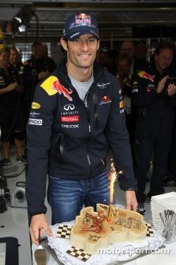 Mark Webber, Red Bull Racing celebrates his birthday