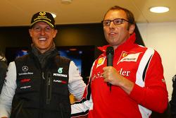 Michael Schumacher, Mercedes GP F1 Team celebrates his first F1 drive at Spa 20 years ago, Stefano Domenicali Ferrari General Director