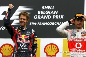 Podium: race winner Sebastian Vettel, Red Bull Racing, third place Jenson Button, McLaren Mercedes