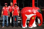 Felipe Massa, Scuderia Ferrari, Stefano Domenicali Ferrari General Director, Fernando Alonso, Scuderia Ferrari and an elephant