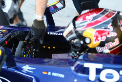 Sebastian Vettel, Red Bull Racing with a smiley face in his cockpit for each win this season