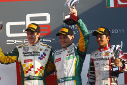 Valtteri Bottas celebrates victory and winning the drivers championship on the podium with James Calado and Rio Haryanto