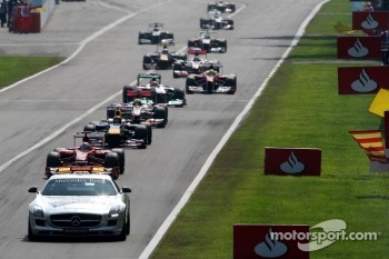 Safety car leads Fernando Alonso, Scuderia Ferrari