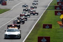 Safety car leads Fernando Alonso, Scuderia Ferrari