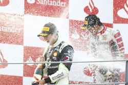 Antonio Felix Da Costa celebrates victory on the podium