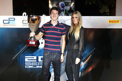 James Calado collects his trophy for second in the GP3 drivers championship
