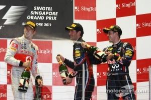 Podium: race winner Sebastian Vettel, Red Bull Racing, second place Jenson Button, McLaren Mercedes, third place Mark Webber, Red Bull Racing