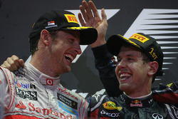 Podium: race winner Sebastian Vettel, Red Bull Racing with Jenson Button, McLaren Mercedes