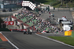 Exiting the steep rise at Eau Rouge