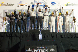 P2 podium: class winners Scott Tucker, Christophe Bouchut and Joao Barbosa, second place Zak Brown, Stefan Johansson and Mark Patterson, third place Franck Mailleux, Lucas Ordonez and Jean-Karl Vernay