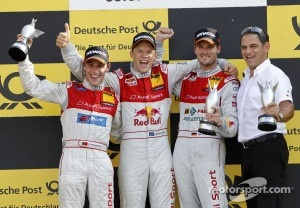 Podium: Filipe Albuquerque (Audi Sport Team Rosberg / TV Movie Audi A4 DTM (2008)), #8 Mattias Ekström (Audi Sport Team Abt Sportsline / Red Bull Audi A4 DTM (2009)), #14 Martin Tomczyk (Audi Sport Team Phoenix / Schaeffler Audi A4 DTM (2008))
