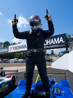 Sean Rayhall celebrates his race win
