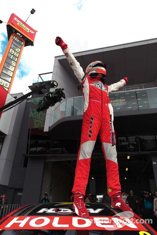 Race winner Garth Tander celebrates