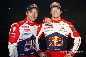Sébastien Loeb poses with a wax figure of himself at Grévin Museum