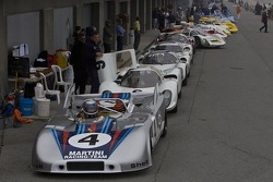Classic Porsche race cars are staged for the Stuttgart Cup qualifying session