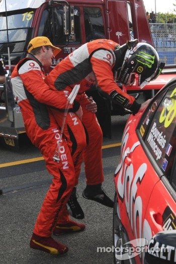 Race winners Sébastien Bourdais and Jamie Whincup celebrate