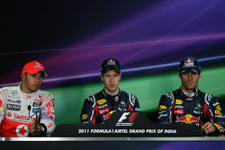Lewis Hamilton, McLaren Mercedes, Sebastian Vettel, Red Bull Racing and Mark Webber, Red Bull Racing