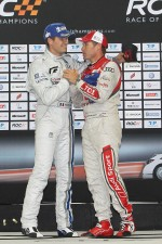 Podium: winner Sbastien Ogier and Tom Kristensen