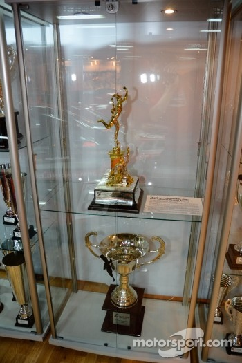 JRM/Sumopower Nissan R35 GT1 trophy cabinet - Drivers Championship Trophy (below) and RAC Tourist Trophy (above)