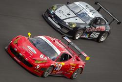 #63 Risi Competizione Ferrari 458: Olivier Beretta, Andrea Bertolini, Toni Vilander, #66 TRG Porsche GT3: Dominik Farnbacher, Ben Keating, Patrick Pilet, Allan Simonsen