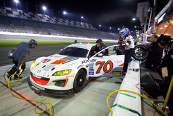 Pit stop for #70 SpeedSource Mazda RX-8: Jonathan Bomarito, Marino Franchitti, James Hinchcliffe, Sylvain Tremblay