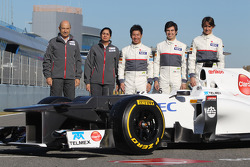 Peter Sauber, Sauber F1 Team, Team Principal with Monisha Kaltenborn, Managing director, Sauber F1 Team, Kamui Kobayashi, Sauber F1 Team, Sergio Perez, Sauber F1 Team and Esteban Gutierrez, Sauber F1 Team