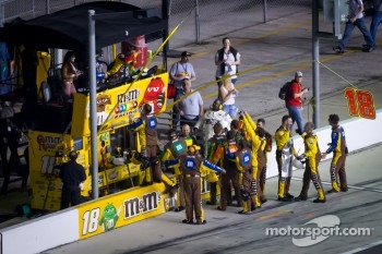 Joe Gibbs Racing team members celebrate the victory of Kyle Busch
