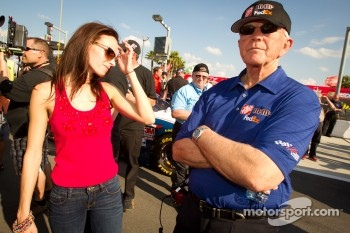 Samantha Sarcinella, wife of Kyle Busch, Joe Gibbs Racing Toyota, with Joe Gibbs