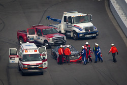 Denny Hamlin, Joe Gibbs Racing Toyota after a crash