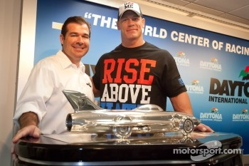 Press conference: professional wrestler John Cena with Daytona International President Joie Chitwood