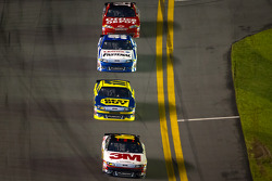 Greg Biffle, Roush Fenway Racing Ford leads Matt Kenseth, Roush Fenway Racing Ford, Carl Edwards, Roush Fenway Racing Ford and Tony Stewart, Stewart-Haas Racing Chevrolet