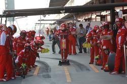 The Ferrari await Felipe Massa, Scuderia Ferrari for a pit stop