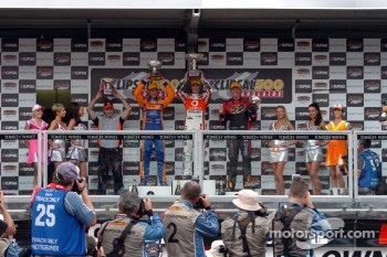 Podium: race winner Jamie Whincup, second place Will Davison, third place Garth Tander
