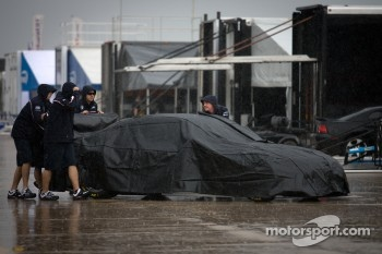 Heavy rain on the Sebring paddock