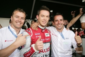 Marcel Fassler, Andre Lotterer and Benoit Trluyer celebrate overall pole