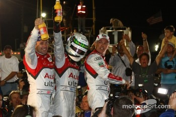 Race winners Tom Kristensen, Allan McNish and Rinaldo Capello
